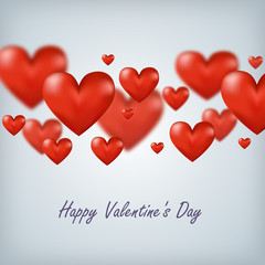 Flying red hearts Happy Valentine's Day, great for your design
