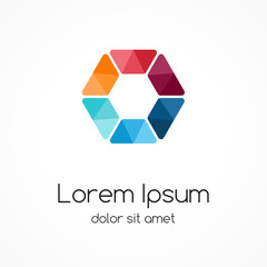 Color logo template. Hexagon element, ymbol.