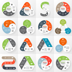 Infographic, diagram, 3 options, parts, steps.