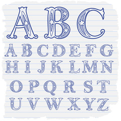 Hand drawn decorative english alphabet letters