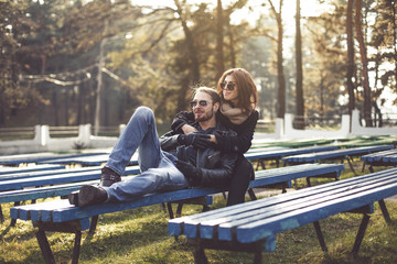 couple relaxing on a park