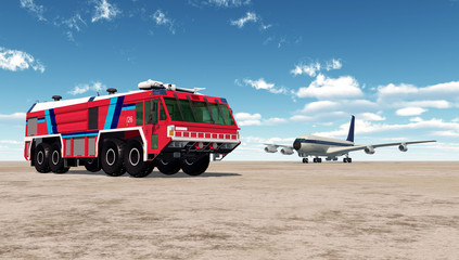 Airport Firetruck and Airliner