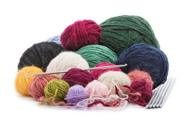 colored wool thread balls to crochet and knitting