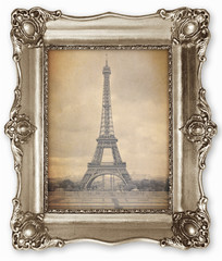 Old vintage frame with stylised Eiffel Tower Photo on canvas.