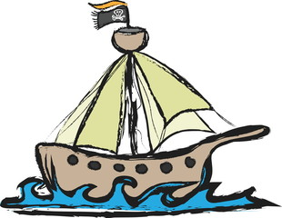 doodle pirate ship