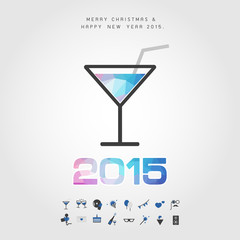 polygon cocktail and 2015 merry christmas and happy new year wit