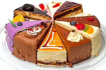 Different pieces of cake on a plate