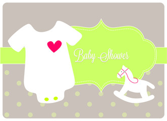 baby shower card, newborn bodysuit with a small rocking horse