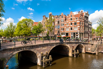 Amsterdam Leaning Buildings and Canals