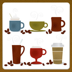 Whimsical Coffee cup illustrations; Swirly and stylized with cof
