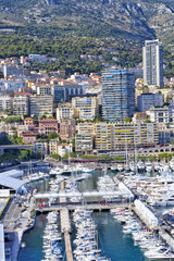 Vibrant aerial view of Monte Carlo harbor and city