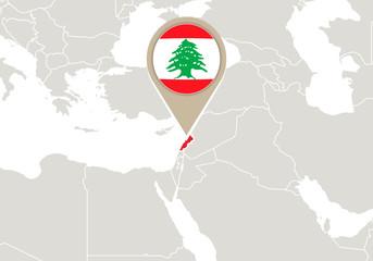 Lebanon on World map