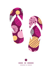 Vector abstract textured bubbles flip flops silhouettes pattern