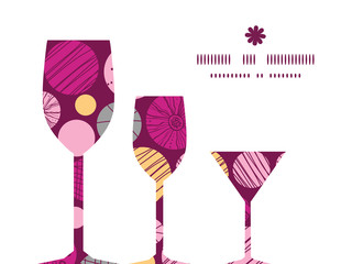 Vector abstract textured bubbles three wine glasses silhouettes