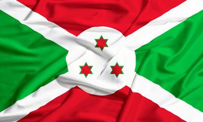 Burundi flag on a silk drape waving