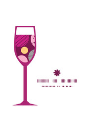 Vector abstract textured bubbles wine glass silhouette pattern