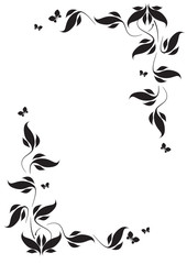 Decorative vignette with silhouettes of leaves and butterflies