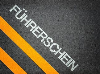 German Führerschein driving license Text Writing Road Asphalt