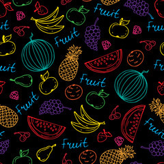 Vector pattern with hand drawn juicy fruit in black