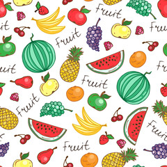Vector seamless pattern with hand drawn juicy fruit