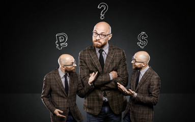 three identical men argue among themselves about important issue