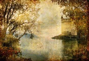 drammatic landscape with castle- artistic vintage picture