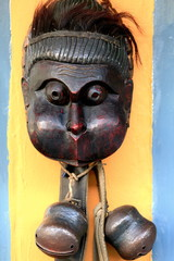 Wooden mask with rattles. Pokhara-Nepal. 0757