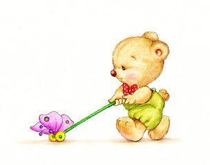Teddy bear with butterfly toy