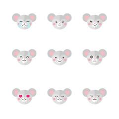 Vector minimalistic flat mouse emotions icon set