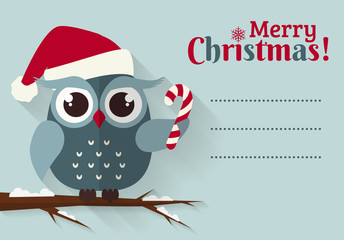 Merry Christmas! Card with cute owl and a place for text.