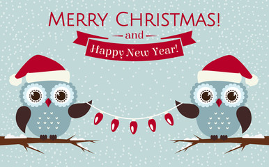 Christmas card with cute owls and a garland. Vector illustration