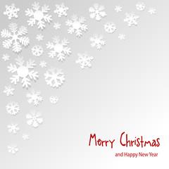 Merry Christmas Postkarte Schnee Schneeflocke white