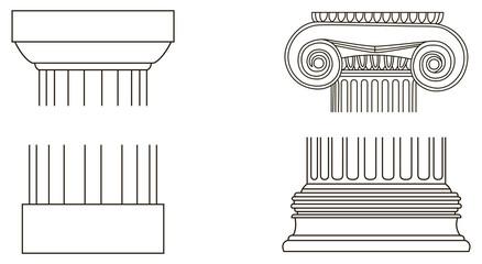 Set of old-style greece pillar column parts