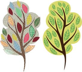 Stylized vector tree. Vector illustration