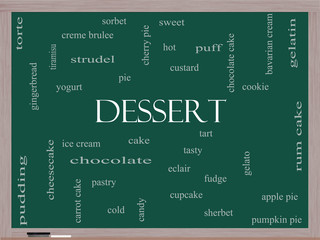 Dessert Word Cloud Concept on a Blackboard