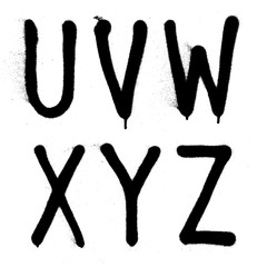 Hand written graffiti font type alphabet. Vector (part 4)