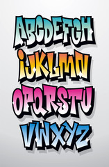 Graffiti cartoon comic doodle font alphabet. Vector