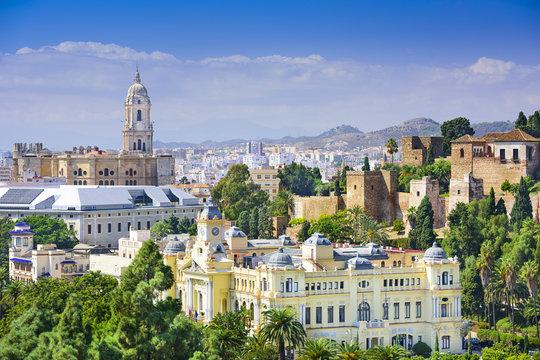 Malaga, Spain Cityscape on the Sea