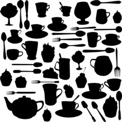 silhouettes of cups