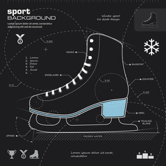Ice skate design vector background