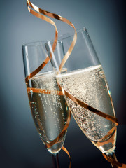Toasting with sparkling golden champagne
