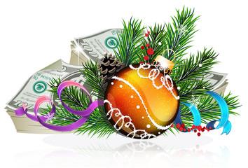 Orange Christmas ball with money
