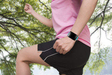 sport people wearing smartwatch with bright blue watchband