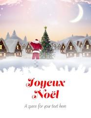 Photo sur Plexiglas Composite image of santa delivery presents to village