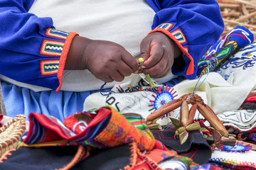 Uru woman handicraft