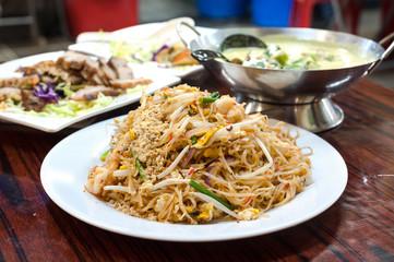 Classic pad Thai noodles served at a a local Thai restaurant