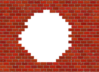 hole in hi-res red small brick wall pattern