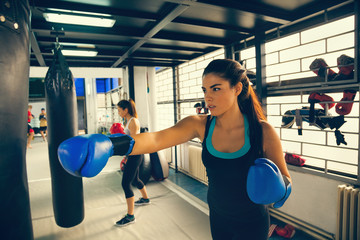 Female Boxers At Training
