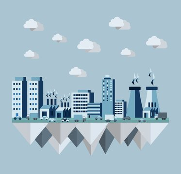 Pollution city flat concept