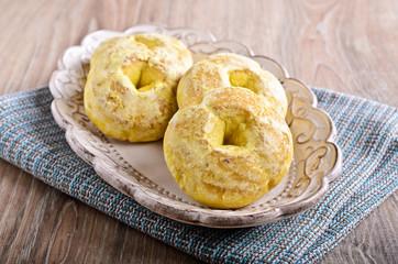 Round glazed cookies